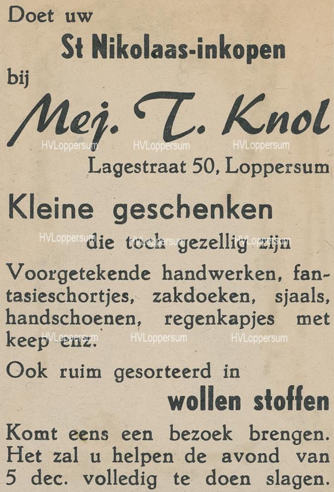 Stoffenwinkel Mej. T. Knol